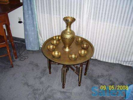 Antique Egyptian Brass Table with 6 Brass cups, photo 1
