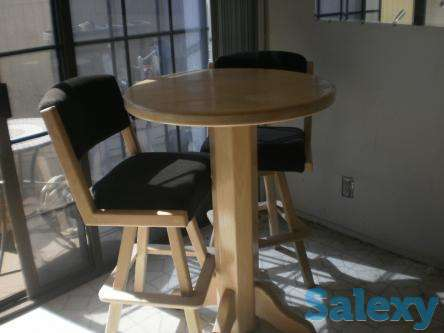 Round Wood Bistro Type Wood Table with 4 Chairs, photo 1