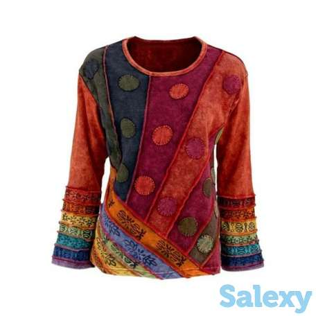 Color Block Round Neck Long Sleeve Casual T-shirts (01685693598), photo 1