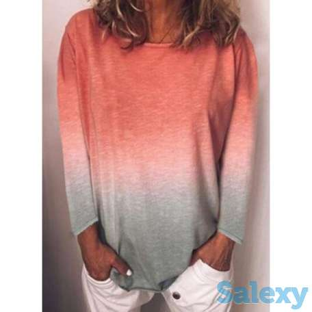 Color Block Round Neck Long Sleeve Casual T-shirts (01685693555), photo 1