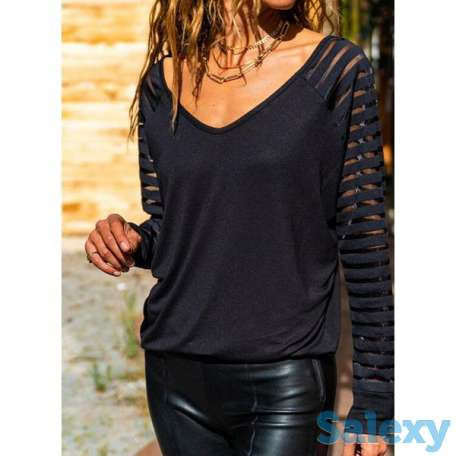 Solid V-Neckline Long Sleeve Casual T-shirts (01685693614), photo 1