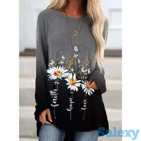 Floral Round Neck Long Sleeve Casual T-shirts (01685693572), photo 1